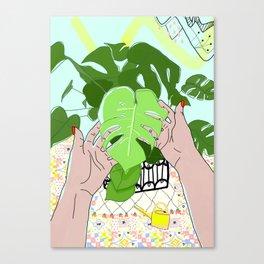 Monstera hands Canvas Print