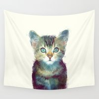 cats Wall Tapestries featuring Cat // Aware by Amy Hamilton