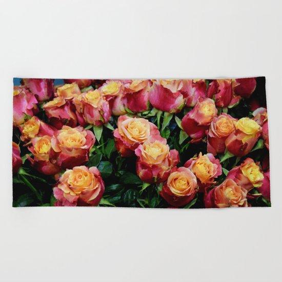 Red Orange Roses Beach Towel