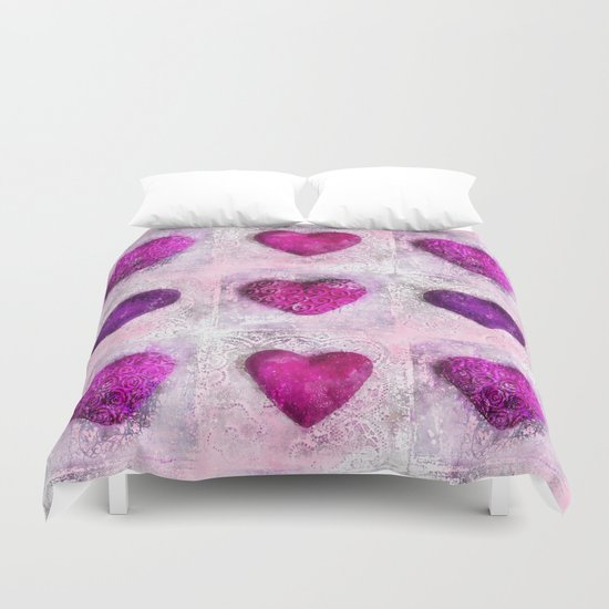 Pink Passion colorful heart pattern Duvet Cover
