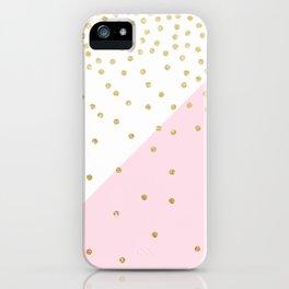 Elegant modern girly faux gold glitter confetti iPhone Case