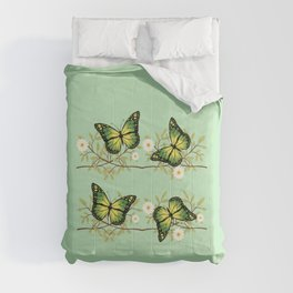 Four green butterflies Comforters