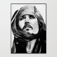 jack sparrow Canvas Prints featuring Jack Sparrow by Gabriel Fox