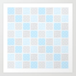 Smaller Baby blue & grey Swirls & spots Patchwork Art Print