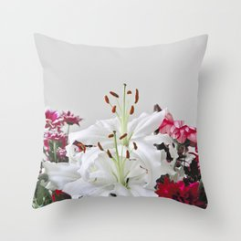 Floral Lilies Daisies Throw Pillow