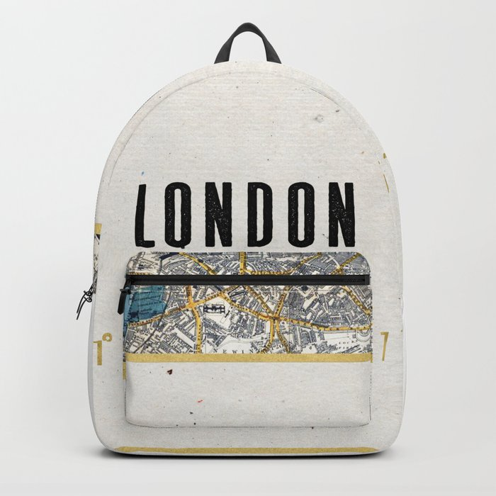 Vintage London Gold Foil Location Coordinates with map Backpack