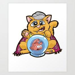 FORTUNE TELLER CAT Fish Bowl Glass clairvoyant Art Print