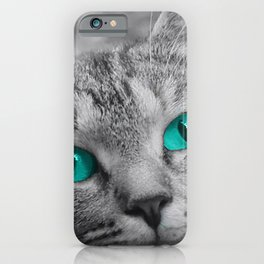 Cat with Piercing Turquoise Eyes iPhone Case