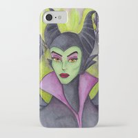 maleficent iPhone & iPod Cases featuring Maleficent by Tanya Davis Art