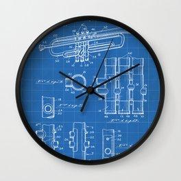 Selmer Trumpet Patent - Trumpet Art - Blueprint Wall Clock
