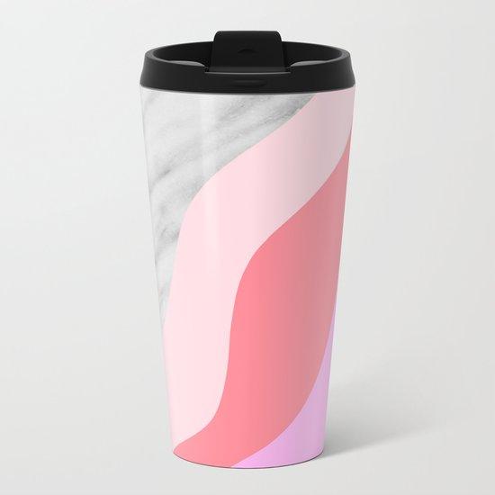 Carrara Italian Marble with Pink Shadows Metal Travel Mug