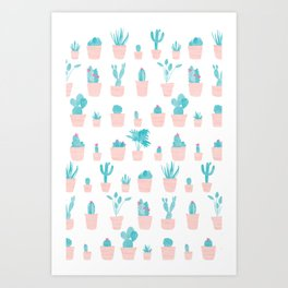 Cacti and Plants in Pots | Original Palette Art Print