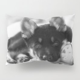 Black white portrait of a shepherd puppy. Pillow Sham