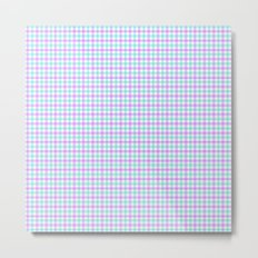 Gingham purple and teal Metal Print
