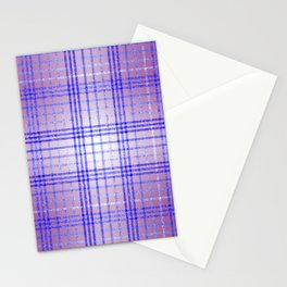 Thin Blue and Purple Speckled Tartan Pattern Stationery Cards