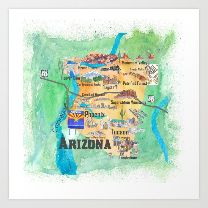 Travel Map Of Arizona.Usa Arizona State Travel Poster Illustrated Art Map Art Print By Artshop77