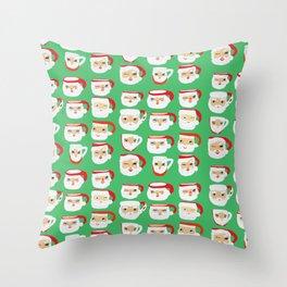 Vintage Santa Mug Collection Throw Pillow