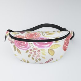 Watercolor pink and red roses with berries Fanny Pack
