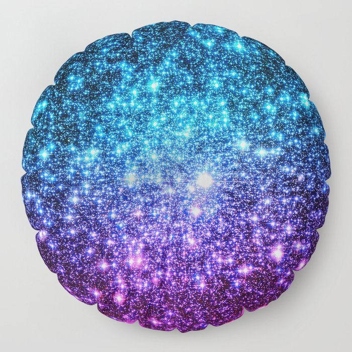 Glitter Galaxy Stars : Turquoise Blue Purple Hot Pink Ombre Floor Pillow