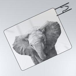 Black and White Baby Elephant Picnic Blanket