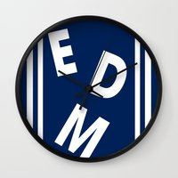 edm Wall Clocks featuring EDM (simple shapes) by DropBass