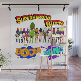 Superheroine Butts BOOM BANG Wall Mural