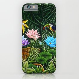 Classical Masterpiece 'Tropical Birds and Flying Things' by Henry Rousseau iPhone Case
