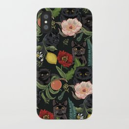 Botanical and Black Cats iPhone Case