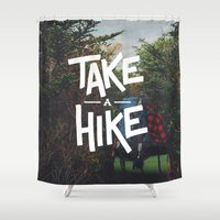 backpack Shower Curtains featuring Take A Hike by Zeke Tucker