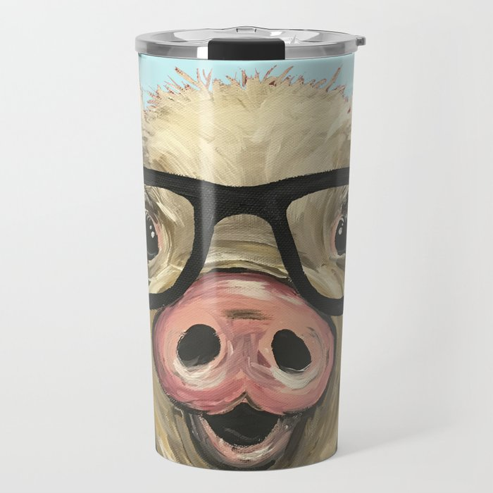 Cute Pig Painting Farm Animal With Glasses Travel Mug By Leekeller