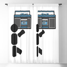 Dude with a boombox abstract drawing Blackout Curtain