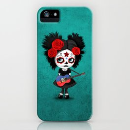 Day of the Dead Girl Playing Haitian Flag Guitar iPhone Case