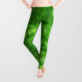 Dark pastel variegated green stars in the projection. Leggings