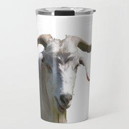 Portrait of a Horned Goat Grazing Vector Travel Mug