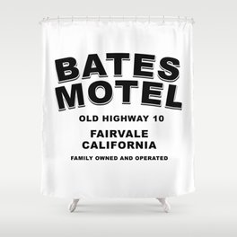 Psycho inspired Bates Motel logo Shower Curtain