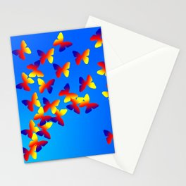 Bright Butterfly Fountain on Blue Stationery Cards