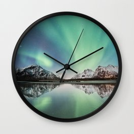 Northern Lights & Mountains Wall Clock
