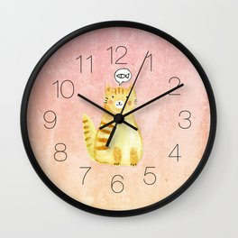 Watercolor Orange Cat Wall Clock