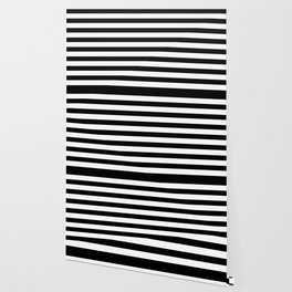 Midnight Black and White Stripes Wallpaper