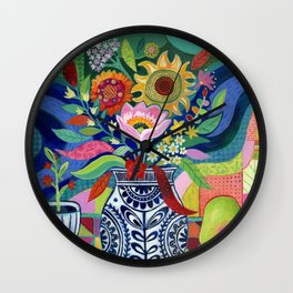 Late Summer Blooms Wall Clock