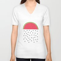 watermelon V-neck T-shirts featuring watermelon by miss Sue
