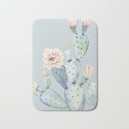 Prettiest Rose Cactus Blue Bath Mat
