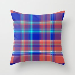 Striped 2X Blue and Red Throw Pillow