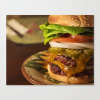 burger Canvas Prints featuring Burger by Jason Morrow