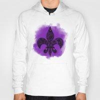 fleur de lis Hoodies featuring Purple Fleur De Lis by Riaora Creations