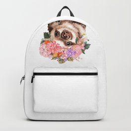 Baby Sloth with Flowers Crown in White Backpack