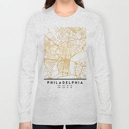 PHILADELPHIA PENNSYLVANIA CITY STREET MAP ART Long Sleeve T-shirt