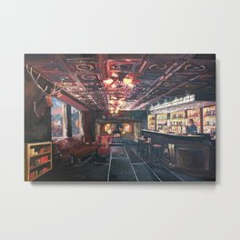 Romantic Night at Rustic Fireside Bar Scene with Village Street View Metal Print