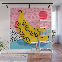 What It Is - memphis throwback banana fruit retro minimal pattern neon bright 1980s 80s style art Wall Mural