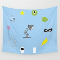 pixar Wall Tapestries featuring Pixar minimal by Nicolasfl